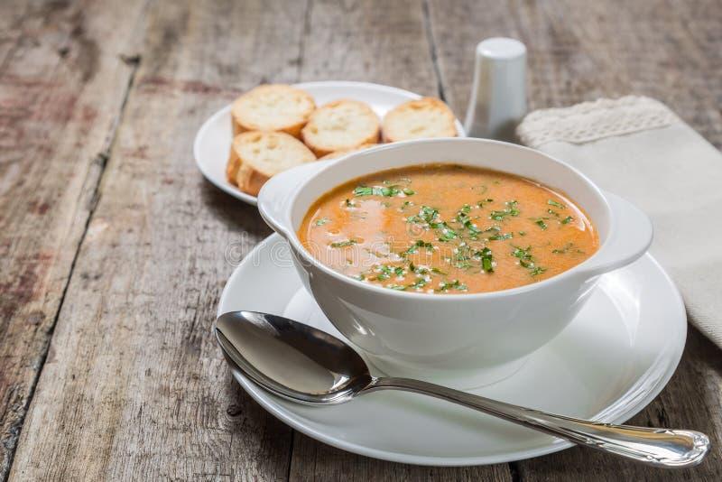 自创汤纯汁浓汤素瓷用油煎方型小面包片 拷贝空间 免版税图库摄影