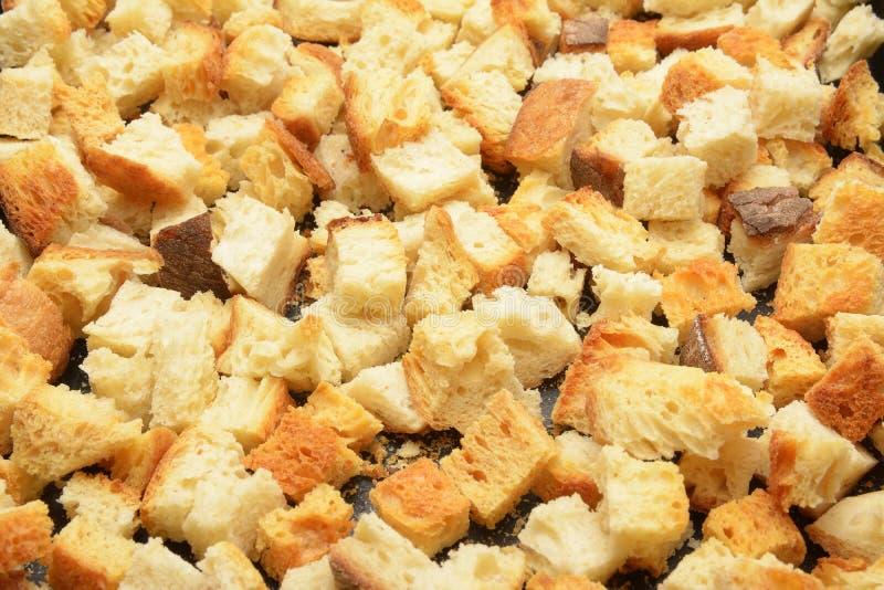 自创油煎方型小面包片 免版税库存照片
