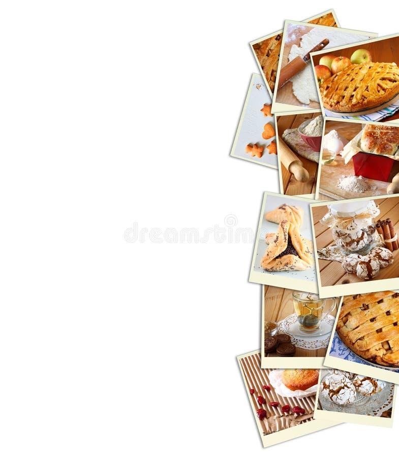 自创烘烤拼贴画用曲奇饼、新鲜面包、苹果饼和松饼在木背景 向量例证