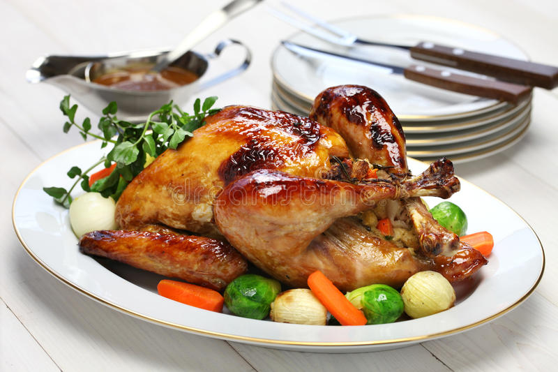 自创烘烤火鸡,感恩圣诞晚餐 免版税图库摄影
