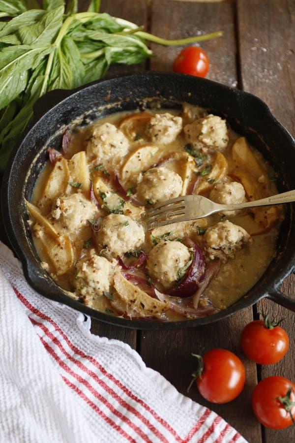 自创猪肉丸子用甜葱苹果小汤和新鲜的蕃茄 免版税图库摄影