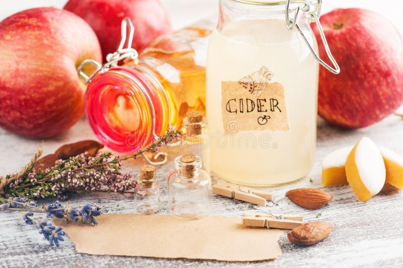 自创苹果汁和新鲜的苹果 图库摄影