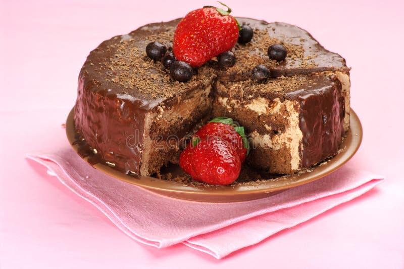 自创蛋糕的巧克力 免版税库存照片