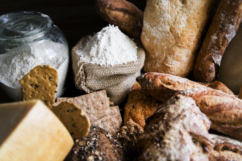 自创酸面团食物摄影食谱想法 免版税库存照片
