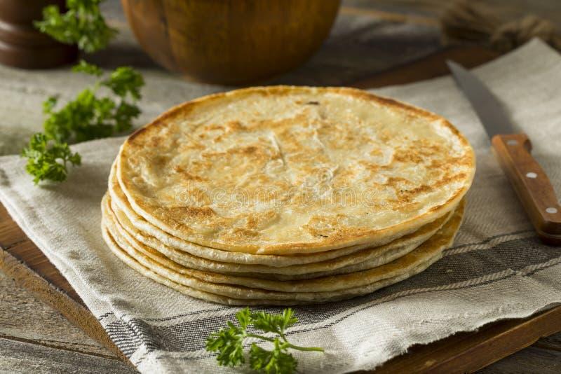 自创面粉印地安人Paratha面包 库存图片
