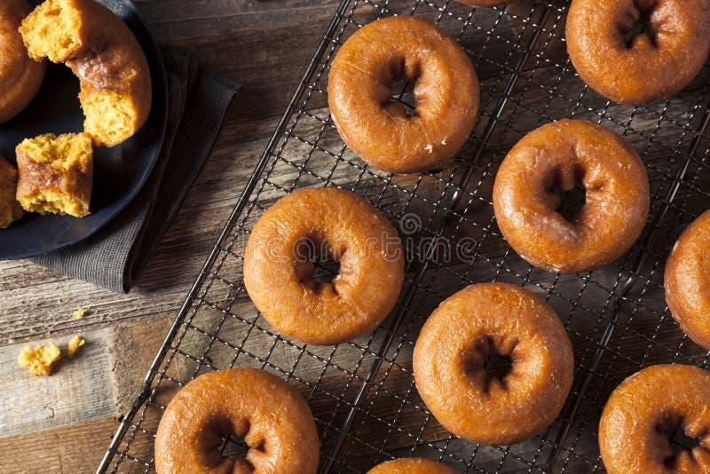 自创给上釉的秋天南瓜油炸圈饼 免版税库存图片