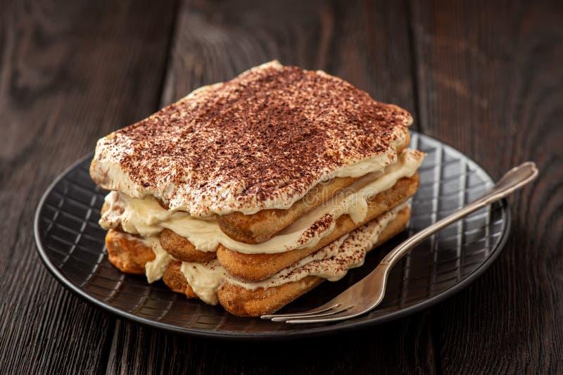 自制的泰拉米苏蛋糕,意大利甜点 免版税库存照片