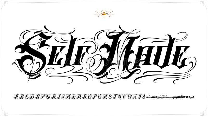 自制纹身花刺字法 库存例证