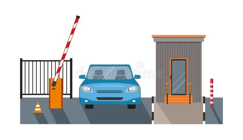 自动上升障碍,安全的自动化系统门, 库存例证