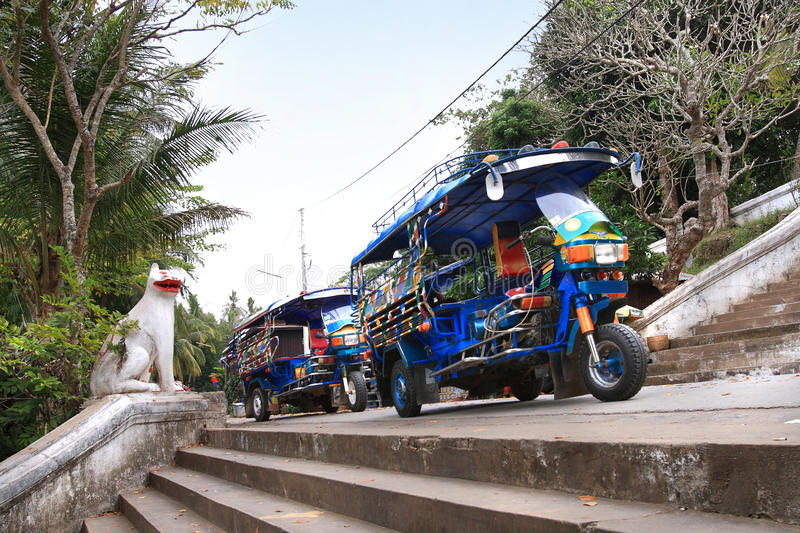自动人力车(tuk-tuk)在琅勃拉邦(老挝) 库存照片