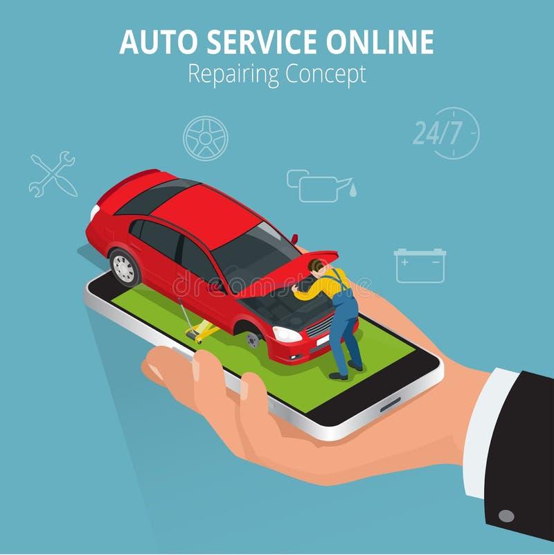 自动修理的概念 在网上自动服务 汽车修理公司中心 轮胎与商店汽车修理的提供清洁服务或膳食的公寓集合 皇族释放例证