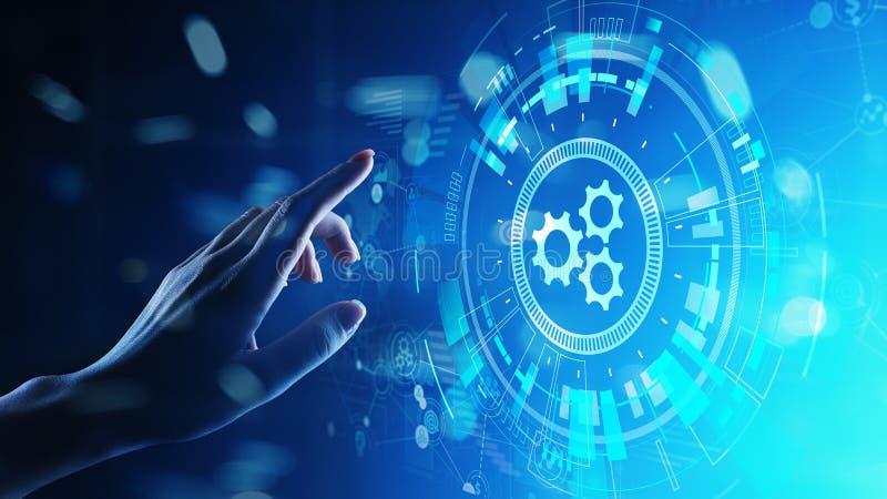 自动化、事务和工业生产方法工作流优化,在虚屏上的软件开发概念 库存例证