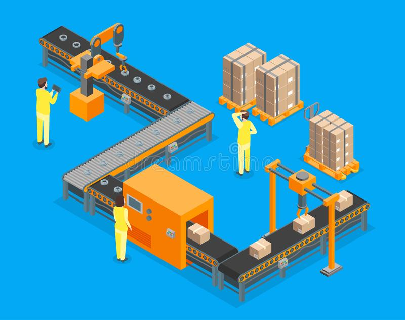 自动化工厂3d等轴测图 向量 库存例证