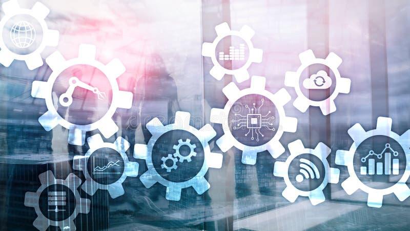 自动化技术和聪明的产业概念在被弄脏的抽象背景 齿轮和象 免版税库存照片