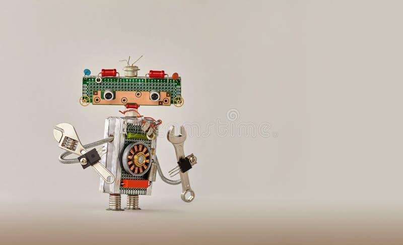自动化机器人处理概念 递板钳米黄梯度背景的活络扳子杂物工 友好机器人 免版税库存图片