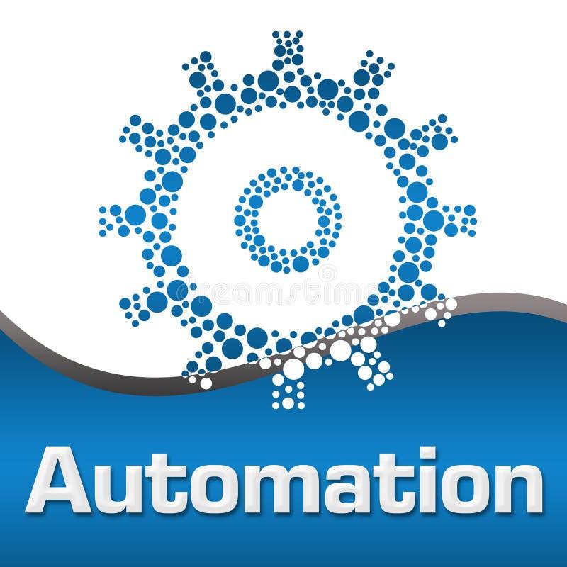 自动化被加点的齿轮蓝色正方形 向量例证