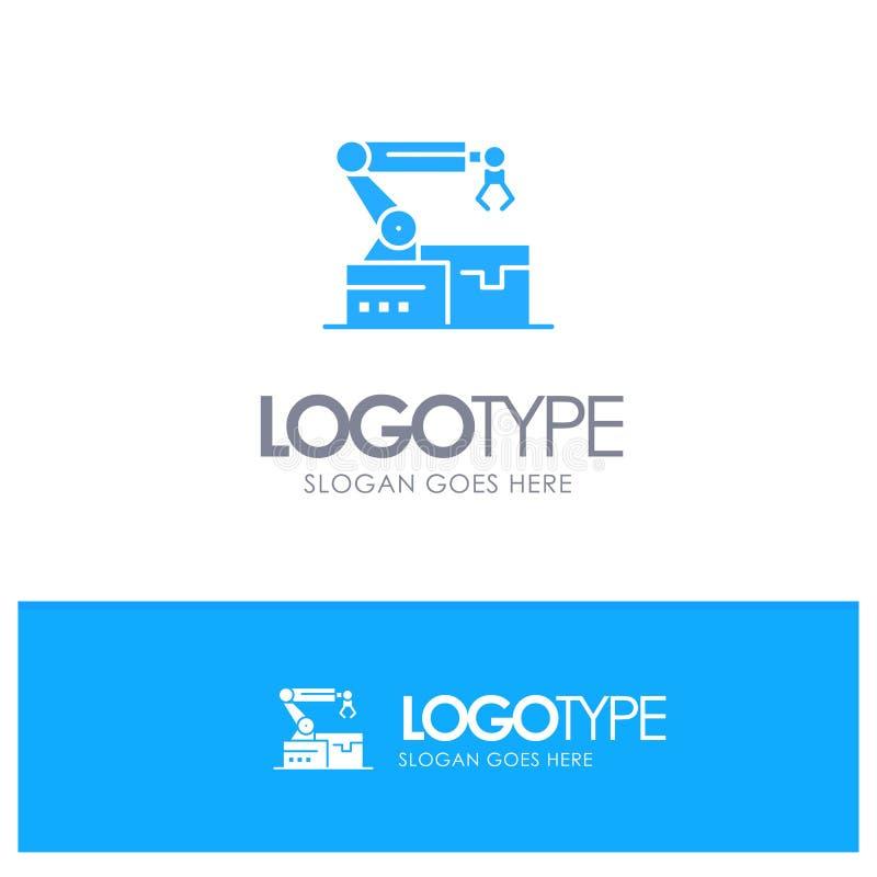 自动化,机器人,胳膊,与地方的技术蓝色坚实商标口号的 库存例证