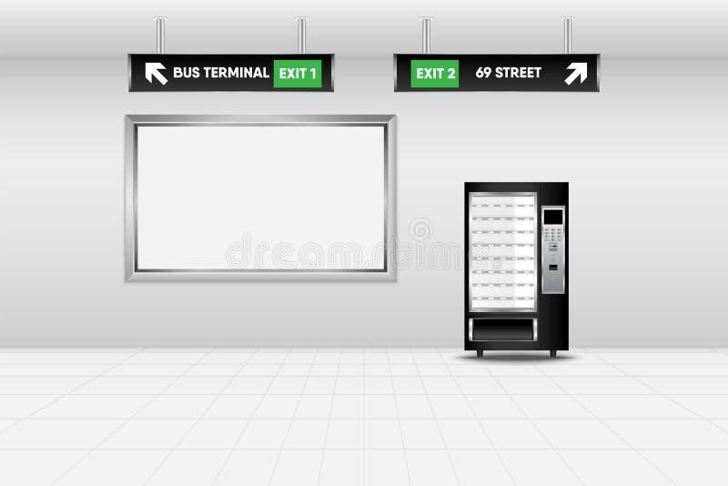 自动售货机现实场面设计在地铁站的,技术 库存例证