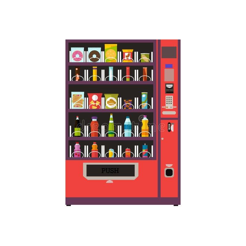 自动售货机被设置的产品项目 在平的样式的传染媒介例证 向量例证