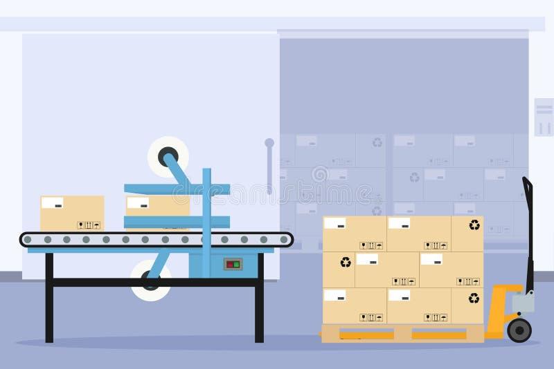 自动工业包装和密封盒生产线 皇族释放例证
