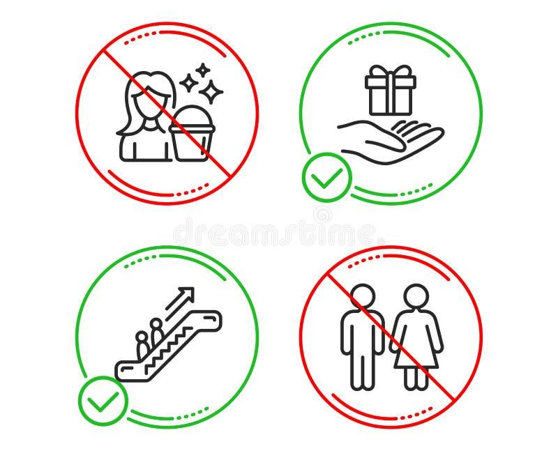 自动扶梯、清洁和忠诚节目象集合 休息室标志 电梯,佣人服务,礼物 Wc洗手间 ?? 库存例证