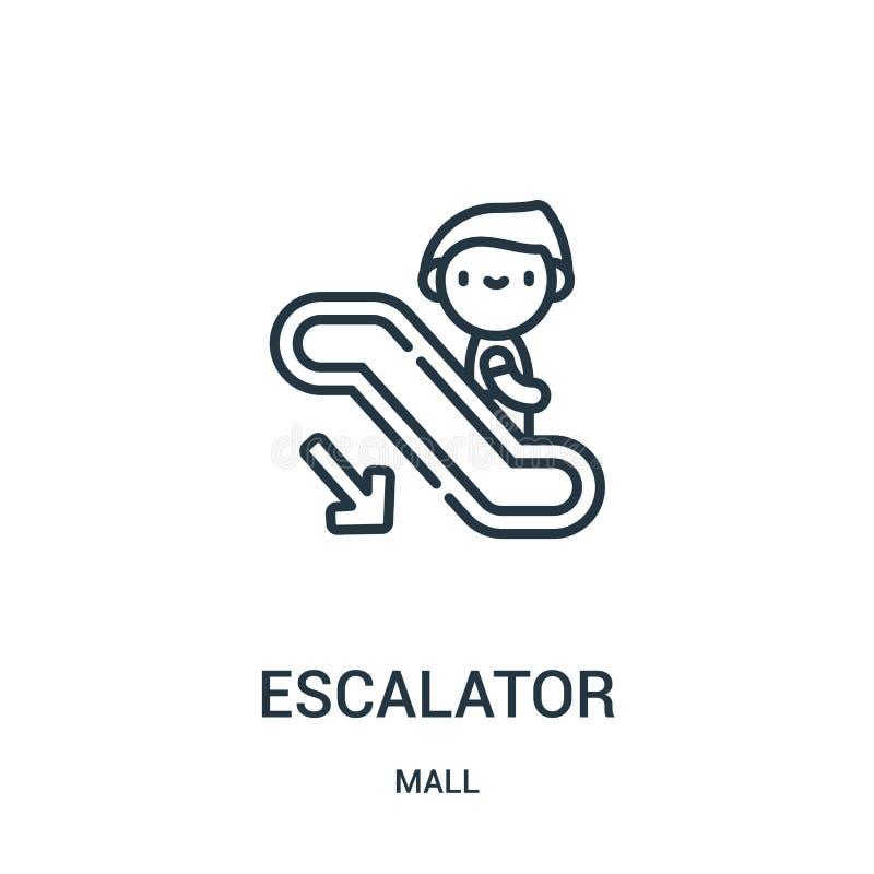 自动扶梯从购物中心汇集的象传染媒介 稀薄的线自动扶梯概述象传染媒介例证 线性标志为在网的使用和 皇族释放例证