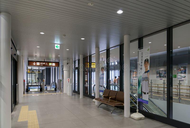 自动扶梯和等待的空间在申英澈函馆Hokuto驻地 库存图片