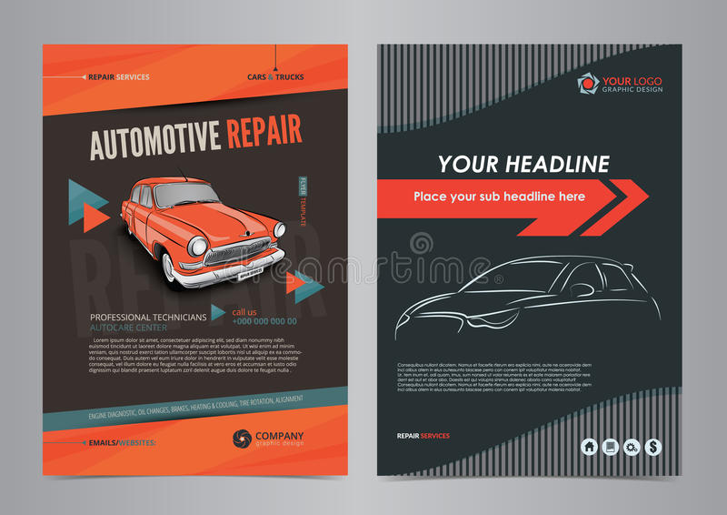 自动服务业飞行物布局模板,汽车修理杂志封面,汽车维修车间小册子,大模型飞行物 库存例证