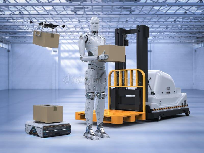 自动机器在仓库里 库存例证