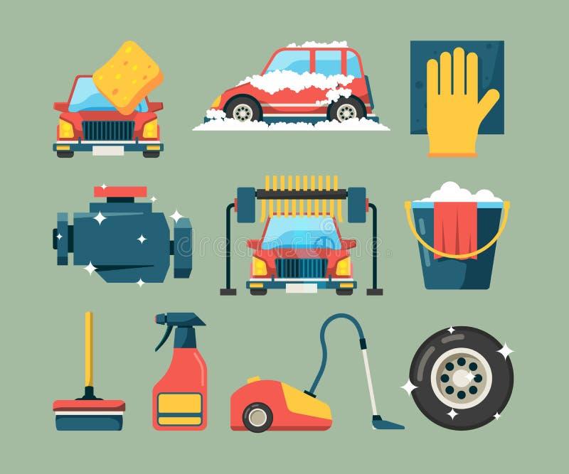自动汽车清洁设备服务洗涤 在抹海绵传染媒介象动画片的干净的修造的水桶的肮脏的机器 皇族释放例证