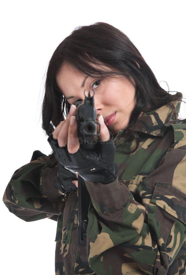 自动美丽的女孩步枪 库存图片