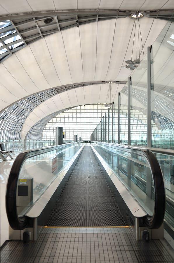 自动自动扶梯在机场 图库摄影