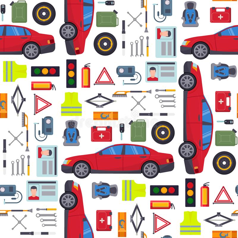 自动运输传染媒介驾驶人设备运输服务汽车司机用工具加工无缝高详细的修理公司 皇族释放例证