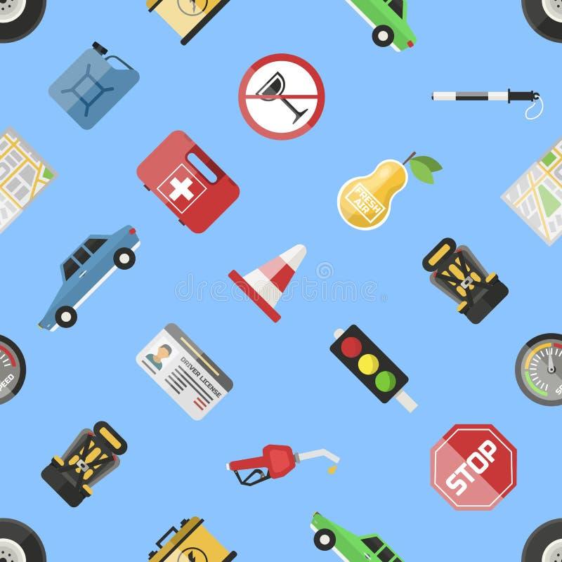 自动运输驾驶人象标志车辆设备服务汽车司机用工具加工传染媒介例证无缝的样式 皇族释放例证