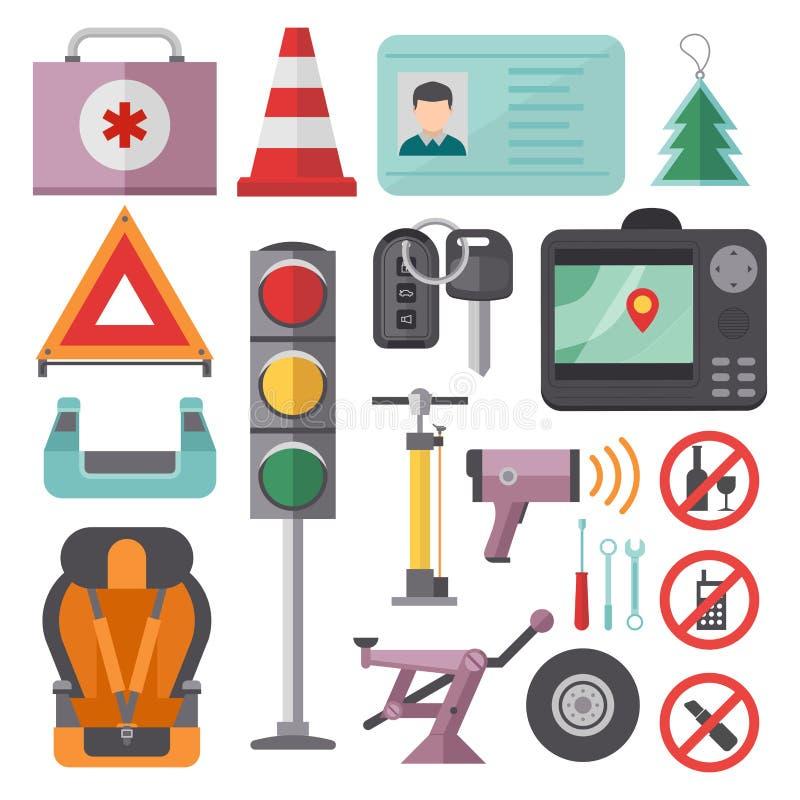 自动运输驾驶人象标志车辆设备服务汽车司机用工具加工传染媒介例证 向量例证