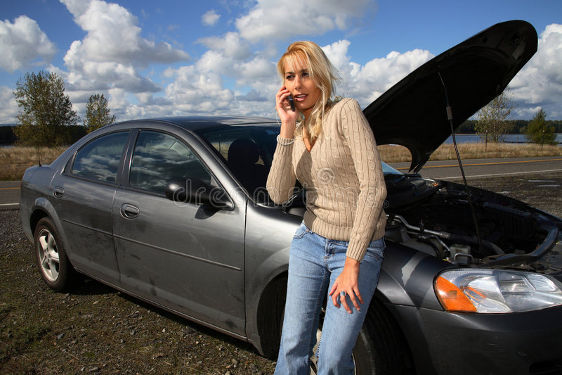 自动麻烦妇女 免版税库存图片