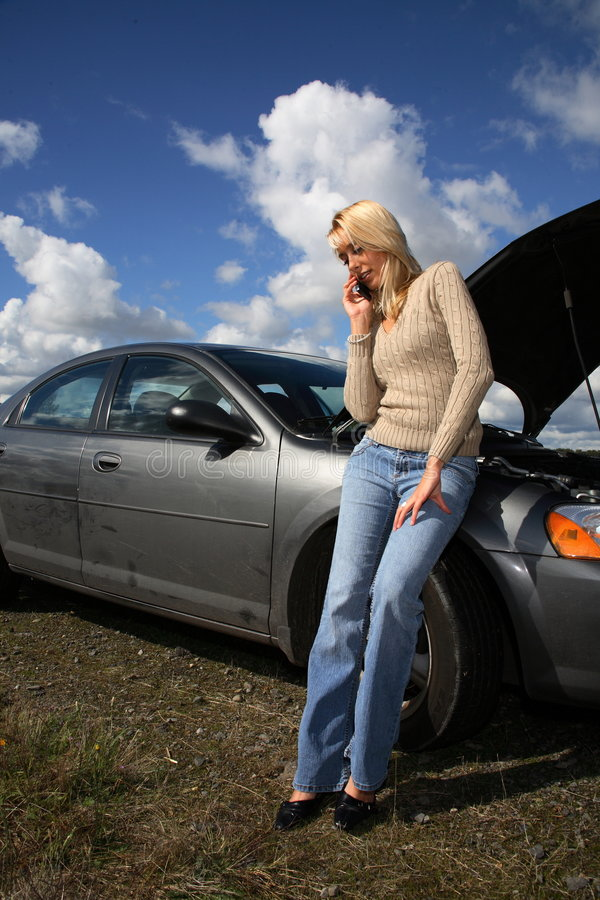 自动麻烦妇女 免版税图库摄影