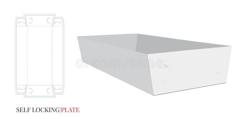 自已锁纸碟模板 o 与冲切的/激光插队的传染媒介 o 白色,清楚,空白,被隔绝 库存例证