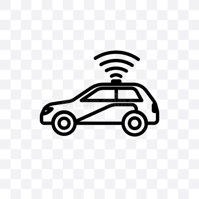 自治在透明背景隔绝的汽车传染媒介线性象,自治汽车透明度概念可以为网使用和 向量例证