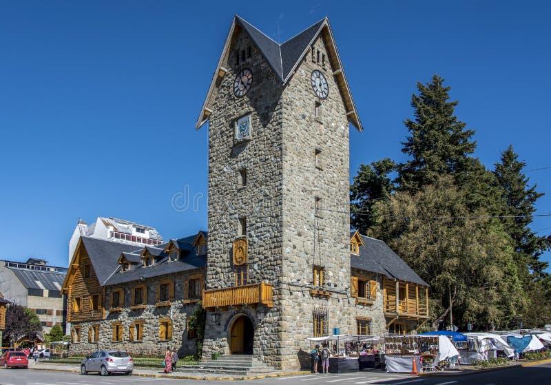 自治市的塔在圣卡洛斯-德巴里洛切的市中心 库存图片