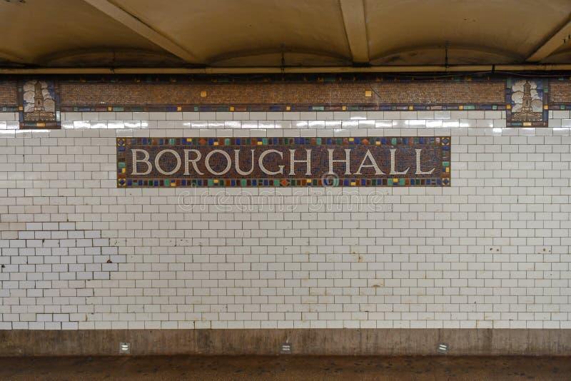 自治市镇霍尔地铁站-纽约 免版税图库摄影