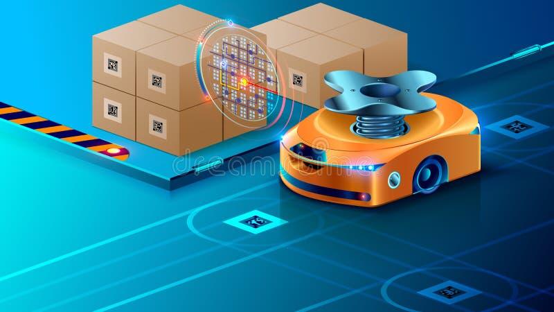 自治机器人,被引导在橱柜式立体仓库的人工智能 聪明的寄生虫分布在后勤学的小包 向量例证