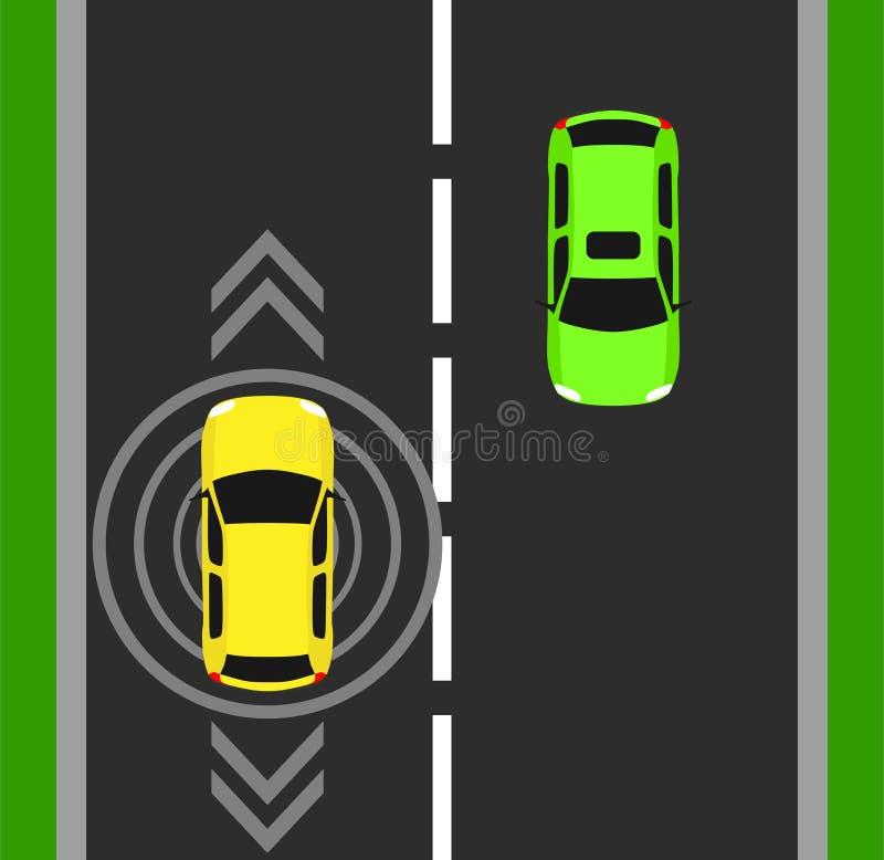 自治汽车顶视图背景 在例证上的数字式车 聪明的被隔绝的设计自已无人驾驶的传染媒介标志 GPS t 库存例证