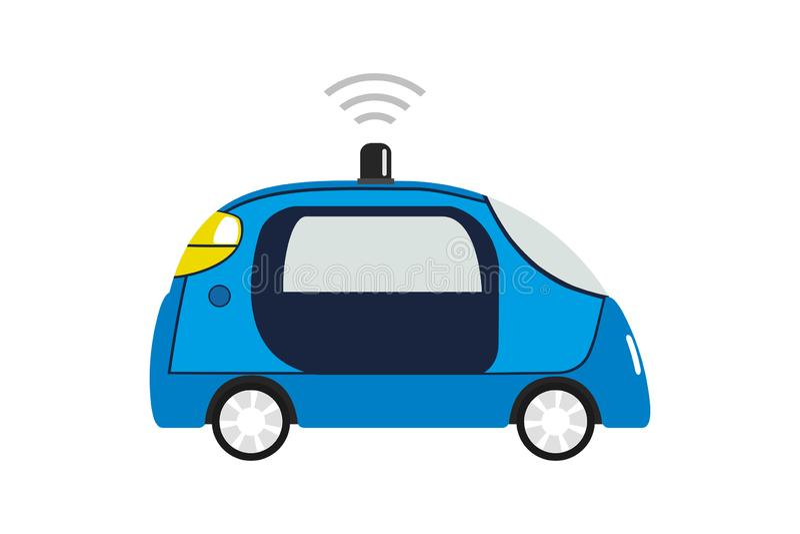 自治汽车,驾驶汽车的自已 库存例证