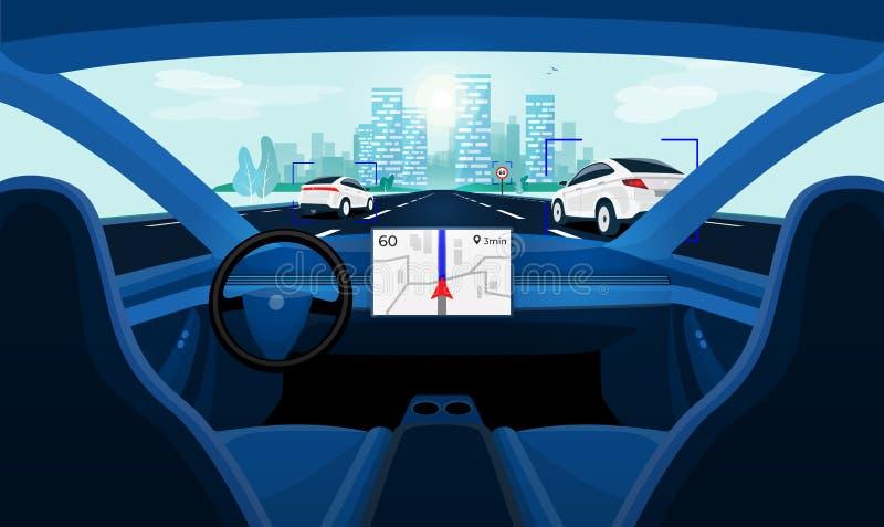 自治聪明无人驾驶汽车自已驾驶 在路的汽车内部仪表板视图 库存例证