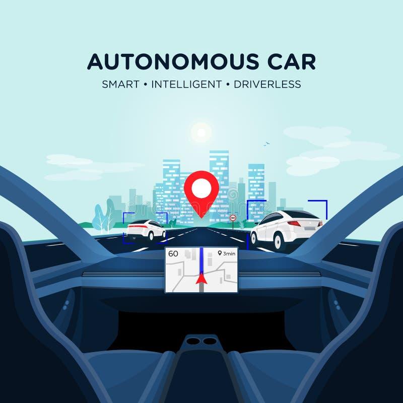 自治聪明无人驾驶汽车自已驾驶 在路的汽车内部视图有交通的 皇族释放例证