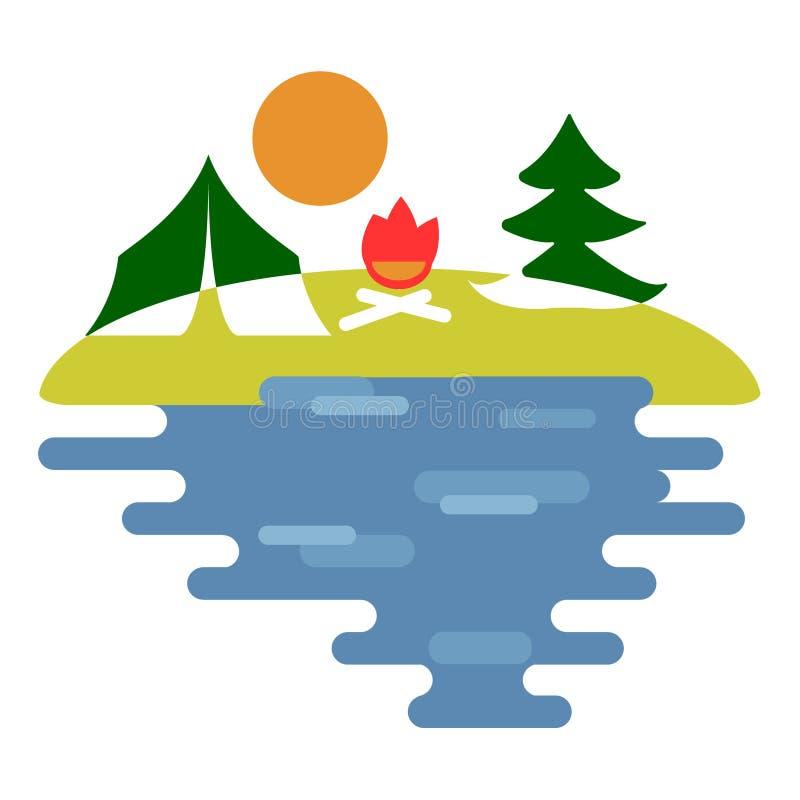 自然、野餐和森林沼地 旅游阵营 帐篷,在清洁的篝火 向量例证