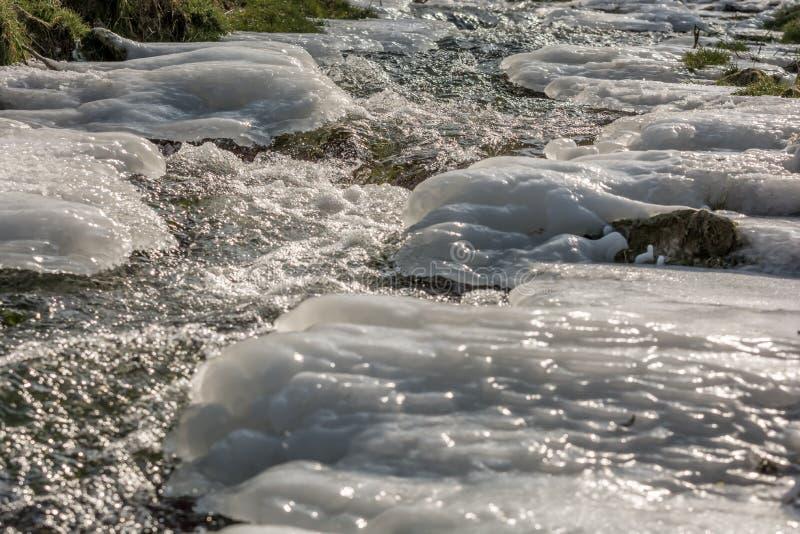 自然一半在山下的冻结的山射流 库存图片