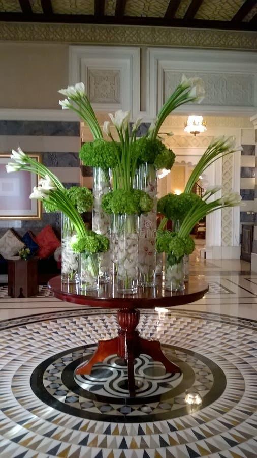自然与绿色hydringia和百合的花loby设定 库存图片