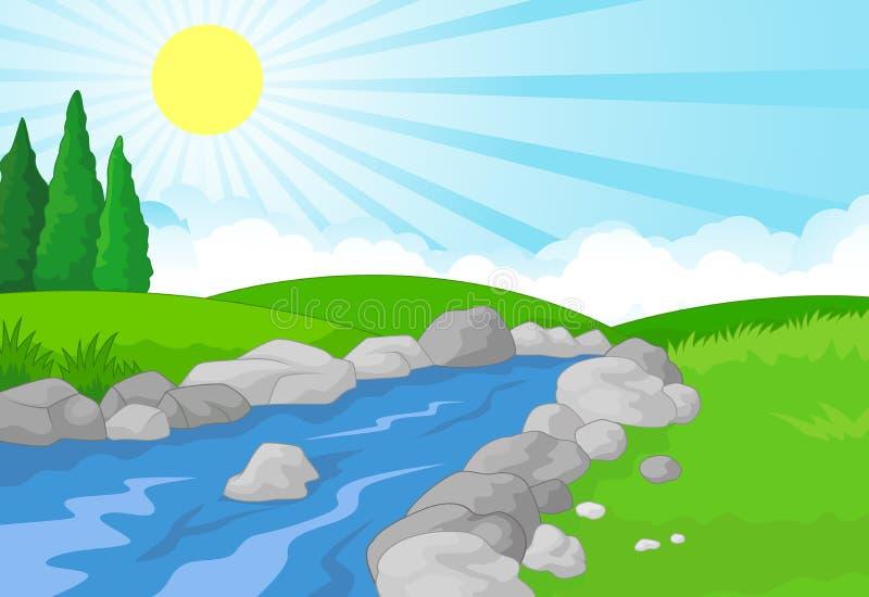 自然与绿色草甸、山和河的风景背景 向量例证